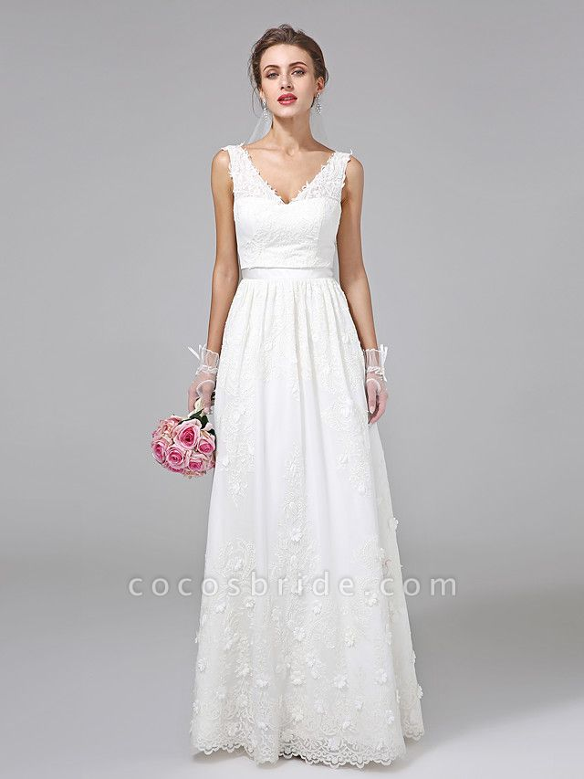 A-Line Wedding Dresses V Neck Floor Length Lace Regular Straps Simple Illusion Detail