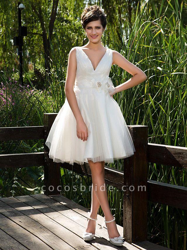 Ball Gown Wedding Dresses V Neck Knee Length Tulle Sleeveless See-Through