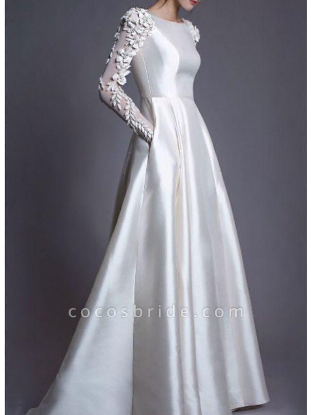 A-Line Wedding Dresses Jewel Neck Floor Length Lace Charmeuse Long Sleeve Simple Modern