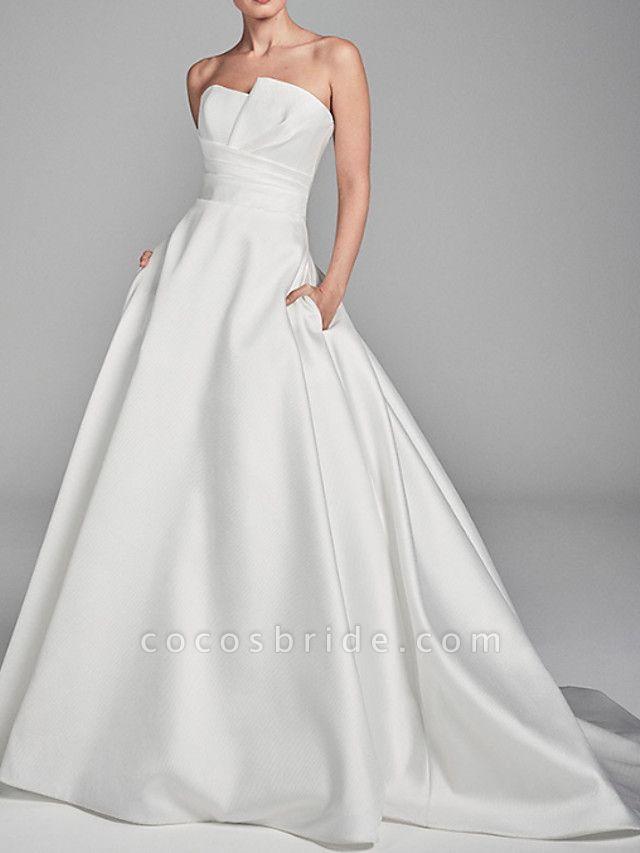 A-Line Wedding Dresses Strapless Sweep \ Brush Train Charmeuse Strapless