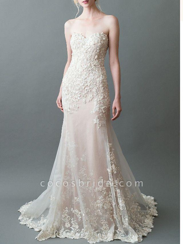 Mermaid \ Trumpet Sweetheart Neckline Sweep \ Brush Train Tulle Strapless Wedding Dresses