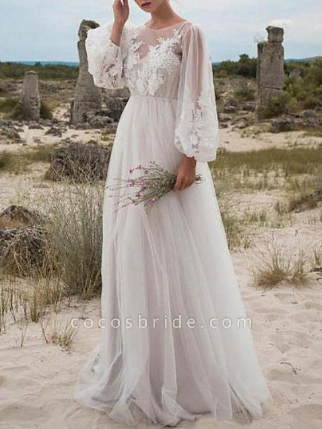 A-Line Wedding Dresses Jewel Neck Floor Length Lace Tulle Long Sleeve Beach Sexy See-Through
