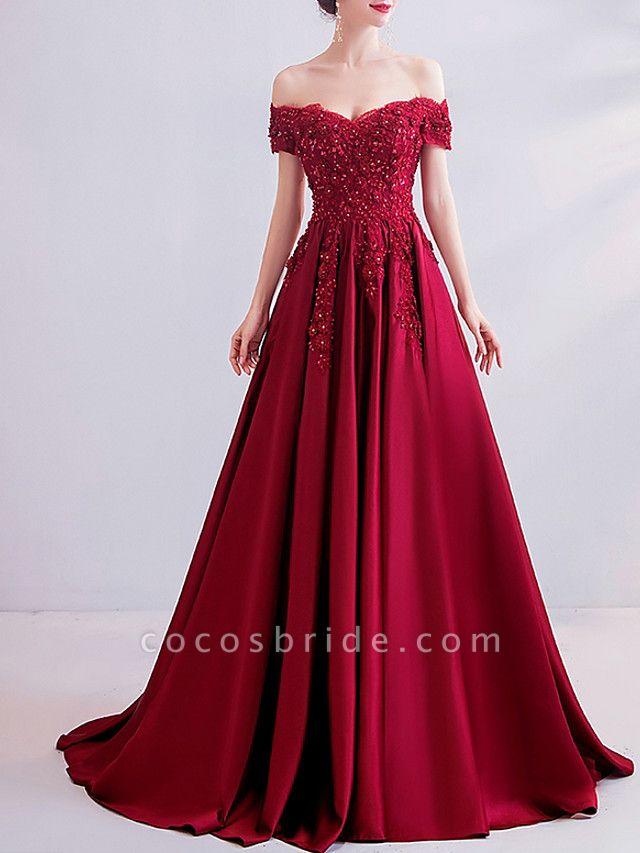 A-Line Wedding Dresses Off Shoulder Sweep \ Brush Train Satin Short Sleeve Romantic Plus Size Red