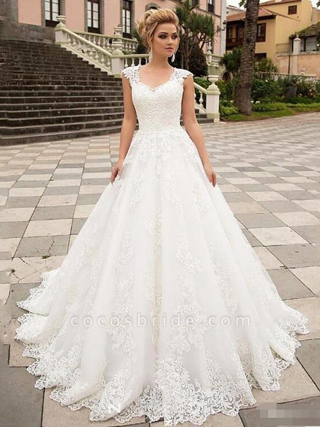 A-Line Wedding Dresses V Neck Sweep \ Brush Train Lace Tulle Strapless Country