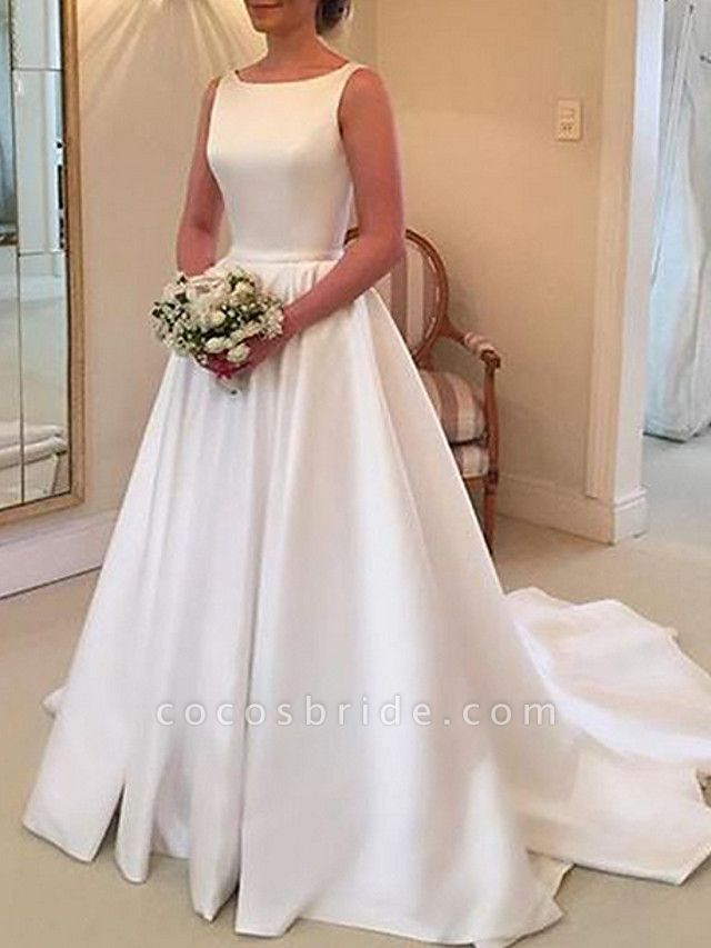 A-Line Wedding Dresses Jewel Neck Sweep \ Brush Train Stretch Satin Spaghetti Strap Simple Backless Elegant