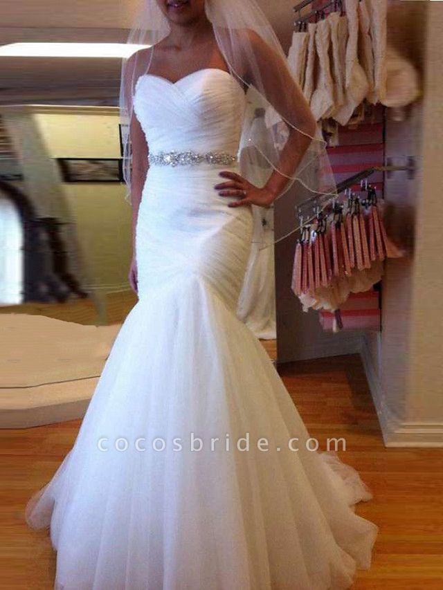 Mermaid \ Trumpet Wedding Dresses Sweetheart Neckline Court Train Tulle Strapless Formal Sparkle & Shine