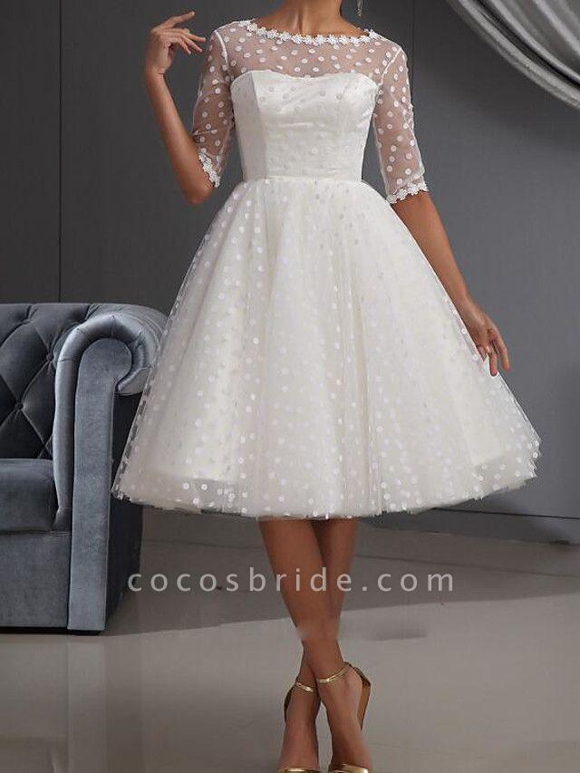 A-Line Wedding Dresses Jewel Neck Knee Length Lace Tulle Half Sleeve Vintage Little White Dress 1950s