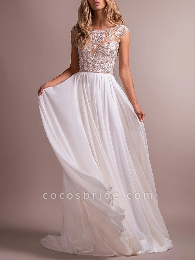 A-Line Wedding Dresses Jewel Neck Sweep \ Brush Train Organza Regular Straps