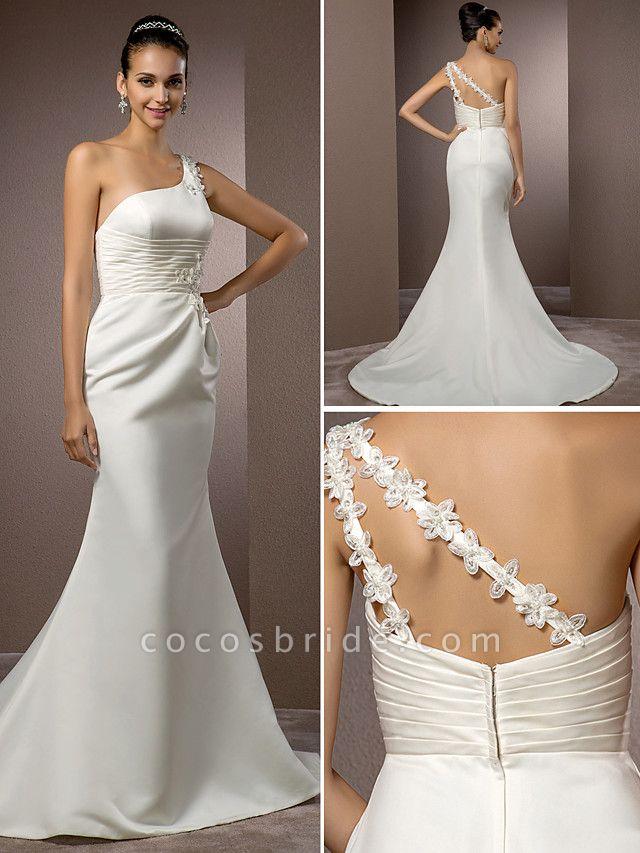 Mermaid \ Trumpet Wedding Dresses One Shoulder Court Train Satin Sleeveless