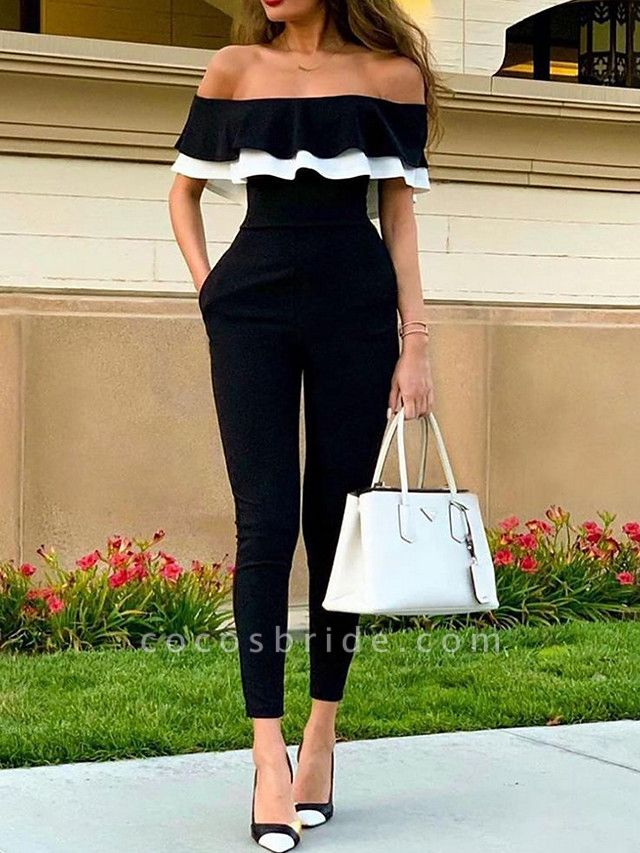 Women's Off Shoulder Black Jumpsuit