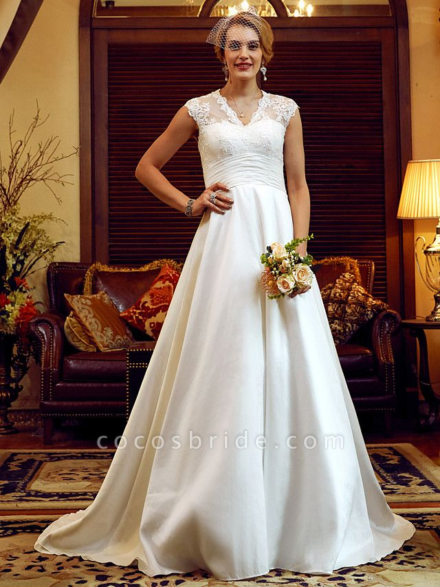 Ball Gown Wedding Dresses V Neck Court Train Lace Taffeta Cap Sleeve Country Vintage See-Through Illusion Detail Backless
