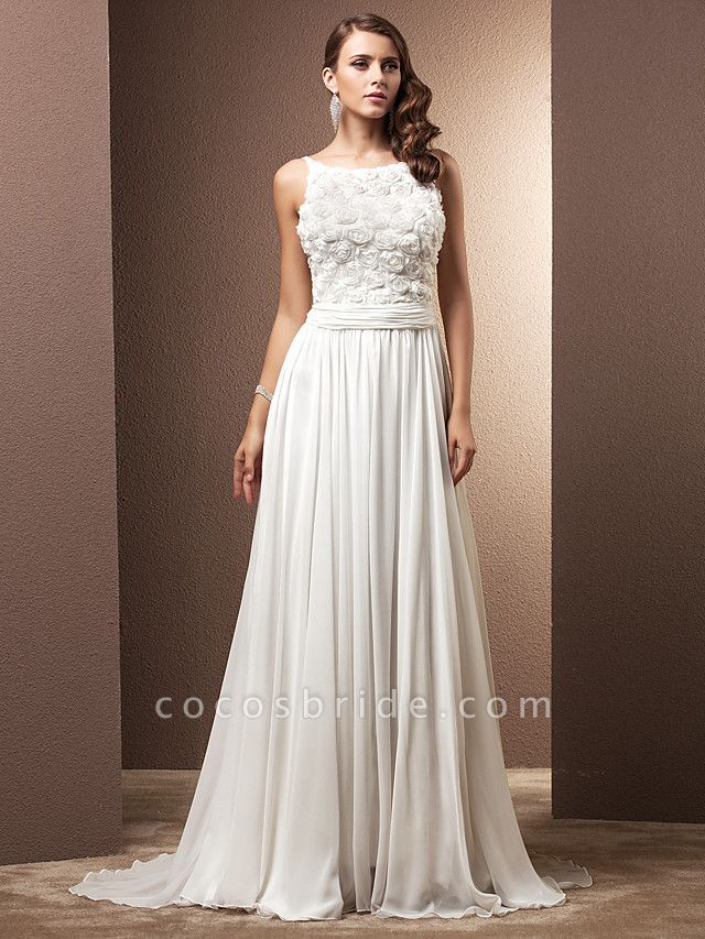 A-Line Wedding Dresses Scoop Neck Sweep \ Brush Train Chiffon Spaghetti Strap Formal