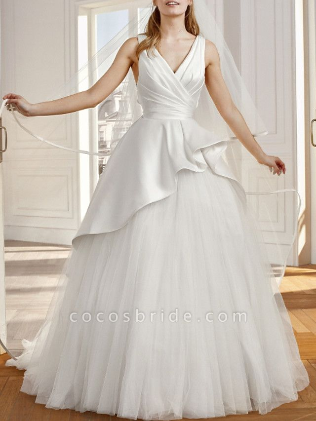 A-Line Wedding Dresses V Neck Sweep \ Brush Train Satin Tulle Sleeveless Vintage Sexy Wedding Dress in Color Backless