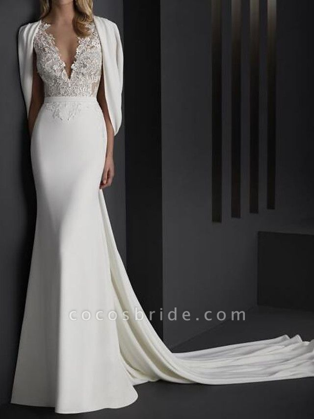 Mermaid \ Trumpet Wedding Dresses V Neck Sweep \ Brush Train Stretch Satin Sleeveless Country Plus Size