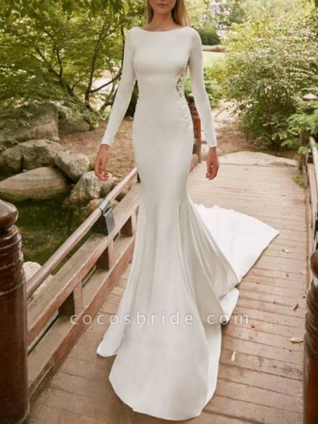 Mermaid \ Trumpet Wedding Dresses Jewel Neck Court Train Satin Long Sleeve