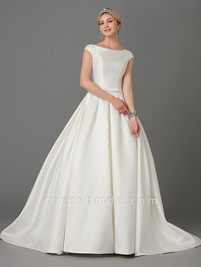 Princess Wedding Dresses Bateau Neck Court Train Satin Short Sleeve