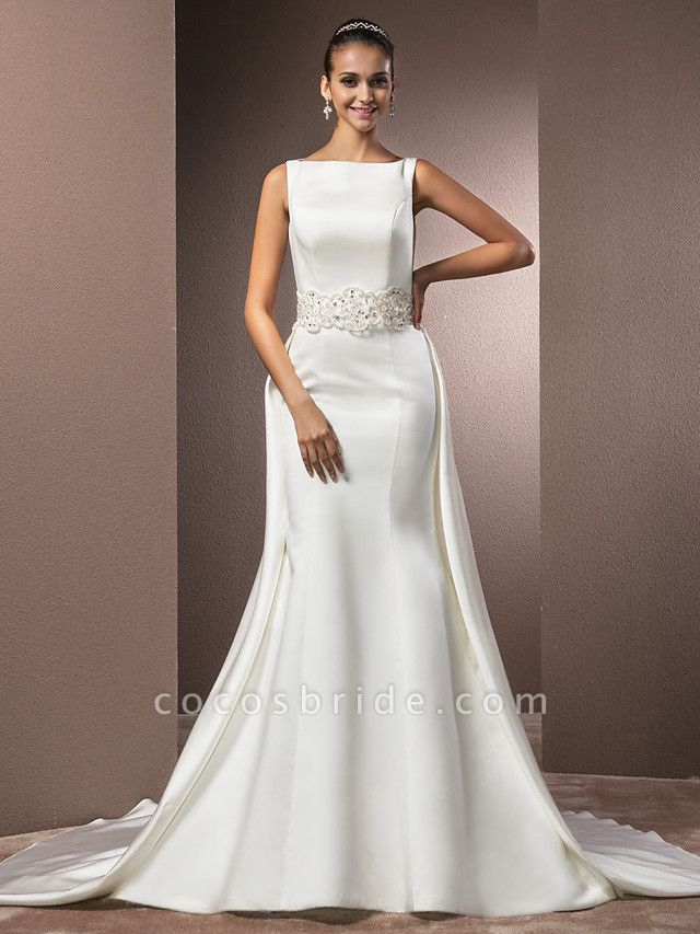 Mermaid \ Trumpet Wedding Dresses Bateau Neck Cathedral Train Satin Regular Straps Vintage Inspired