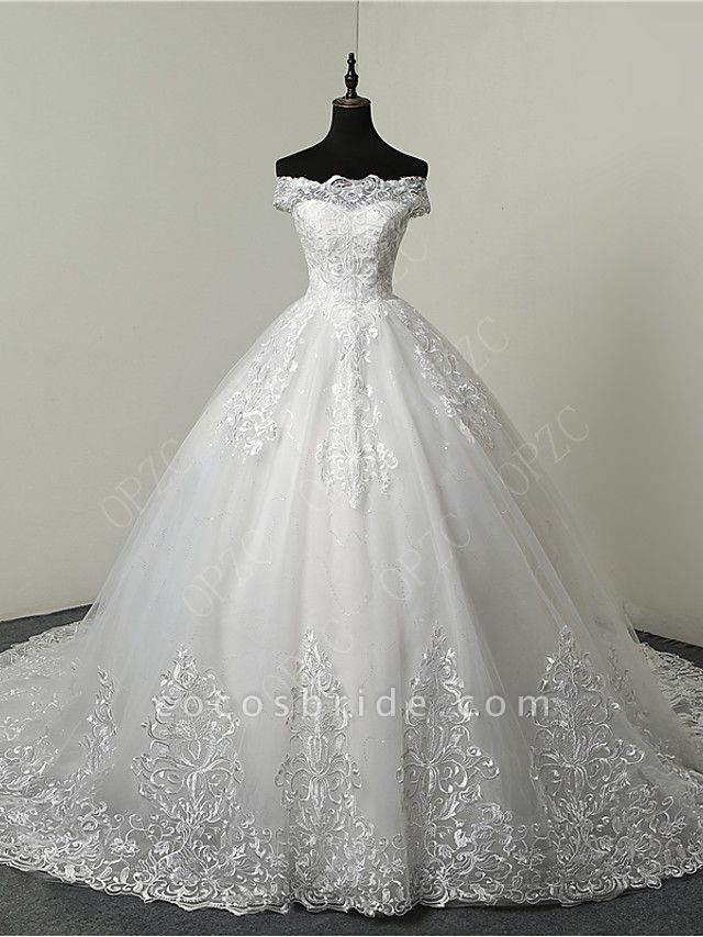 Ball Gown Wedding Dresses Off Shoulder Court Train Tulle Sequined Short Sleeve Glamorous Illusion Detail