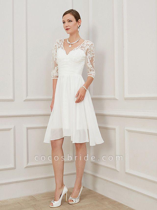 A-Line Wedding Dresses V Neck Knee Length Chiffon Lace Half Sleeve Formal Plus Size Illusion Sleeve