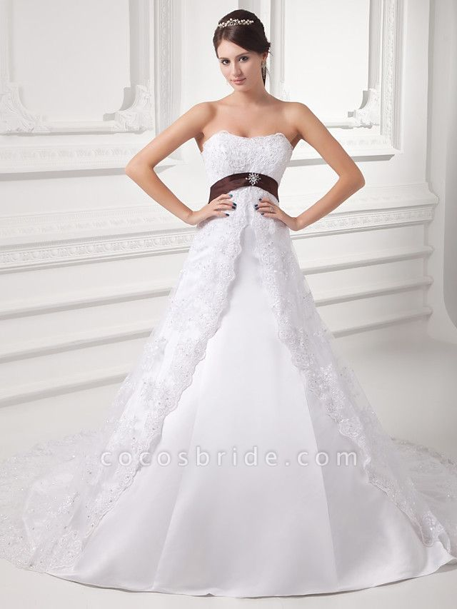 A-Line Strapless Chapel Train Lace Satin Tulle Strapless Wedding Dresses