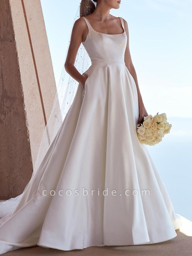 A-Line Wedding Dresses Square Neck Sweep \ Brush Train Satin Spaghetti Strap Plus Size Elegant