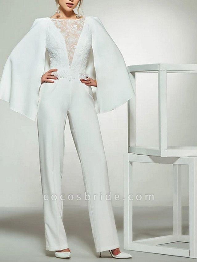Jumpsuits Wedding Dresses Bateau Neck Floor Length Lace Satin Long Sleeve Romantic Plus Size Modern