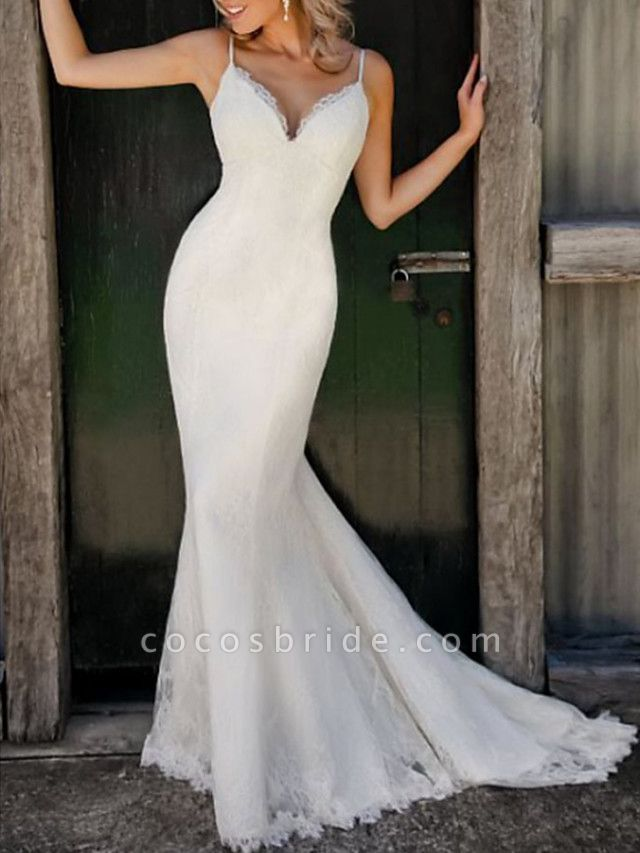 Mermaid \ Trumpet Wedding Dresses V Neck Spaghetti Strap Sweep \ Brush Train Lace Sleeveless Simple Sexy