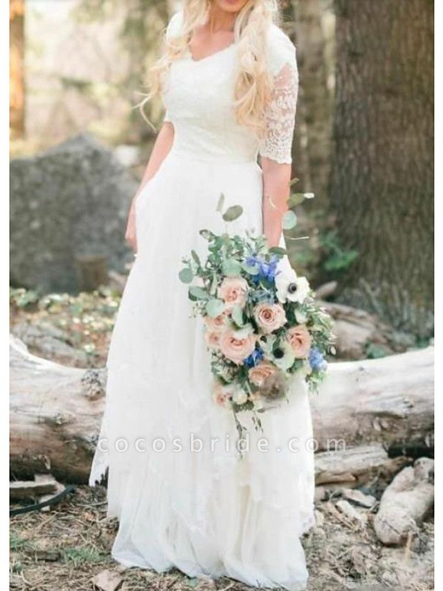 A-Line Wedding Dresses V Neck Floor Length Lace Tulle Half Sleeve Country Illusion Sleeve