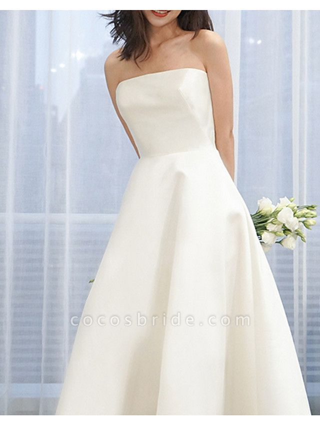 A-Line Wedding Dresses Strapless Sweep \ Brush Train Satin Strapless Formal Simple Vintage Plus Size 1950s