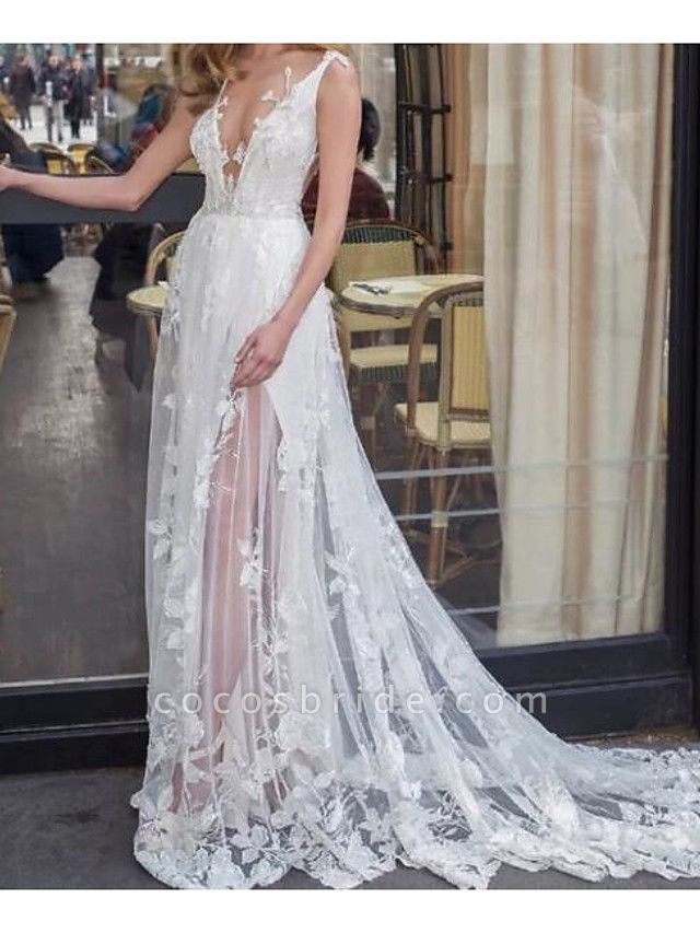 A-Line Wedding Dresses V Neck Sweep \ Brush Train Lace Tulle Jersey Sleeveless Beach Boho Sexy See-Through