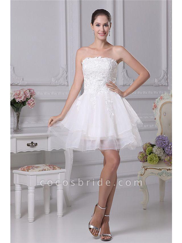 A-Line Wedding Dresses Strapless Mini Lace Organza Strapless