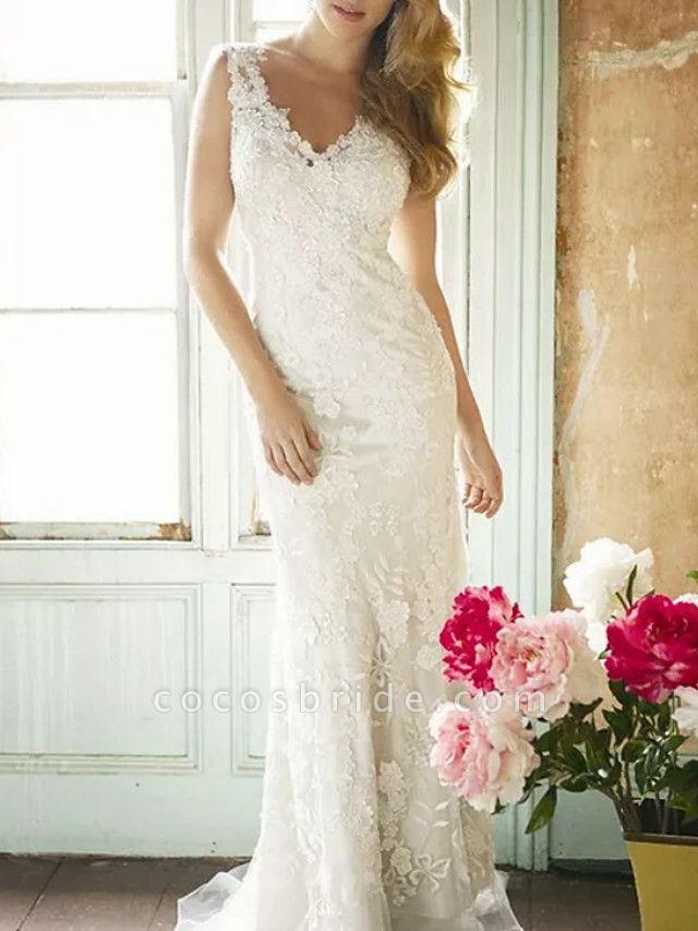 Sheath \ Column Wedding Dresses V Neck Sweep \ Brush Train Lace Polyester Sleeveless Country Plus Size