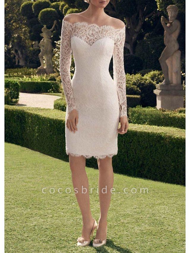 Sheath \ Column Wedding Dresses Off Shoulder Short \ Mini Lace Long Sleeve Vintage See-Through Illusion Sleeve