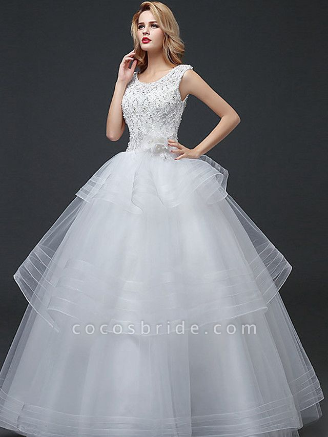 Ball Gown Wedding Dresses Scoop Neck Floor Length Lace Tulle Polyester Cap Sleeve Romantic