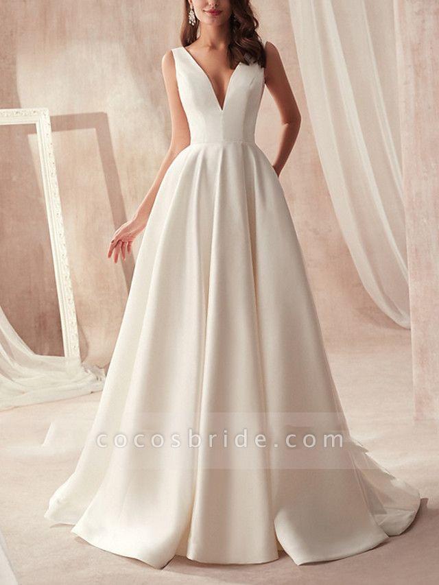 A-Line Wedding Dresses V Neck Sweep \ Brush Train Satin Sleeveless Formal