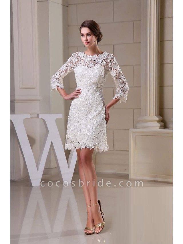 A-Line Wedding Dresses Jewel Neck Knee Length All Over Floral Lace 3\4 Length Sleeve Vintage Backless Illusion Sleeve