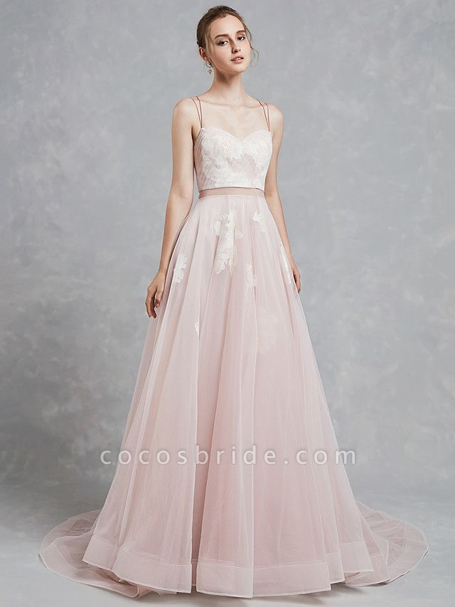 A-Line Wedding Dresses Sweetheart Neckline Court Train Lace Tulle Spaghetti Strap Beautiful Back