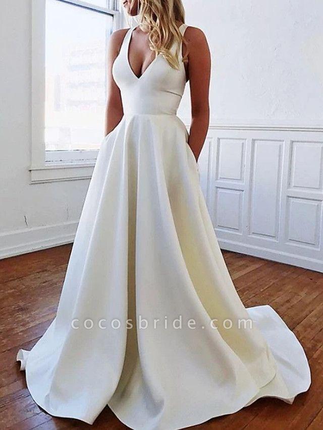 A-Line Wedding Dresses Plunging Neck Sweep \ Brush Train Stretch Satin Sleeveless Sexy Plus Size