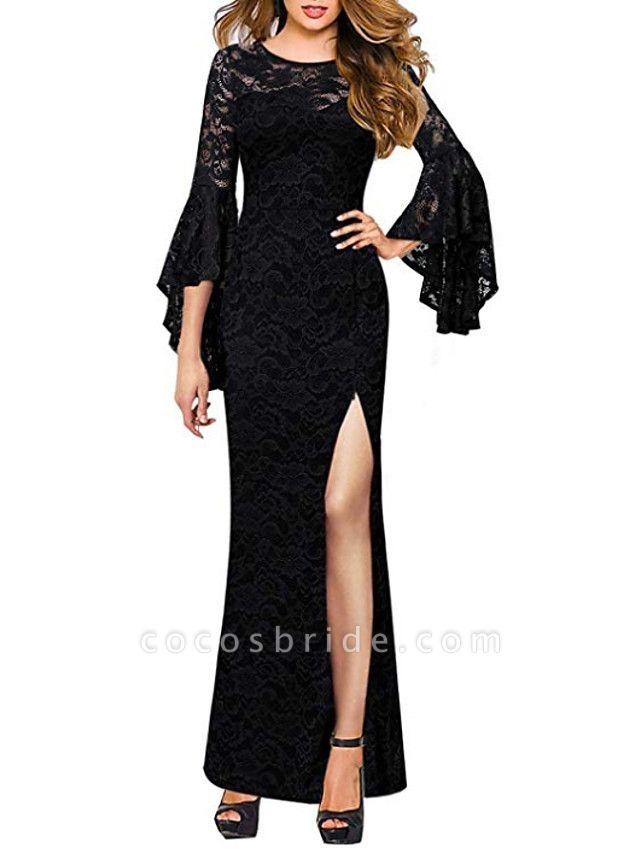 Sheath \ Column Wedding Dresses Jewel Neck Floor Length Polyester 3\4 Length Sleeve Formal Plus Size Black