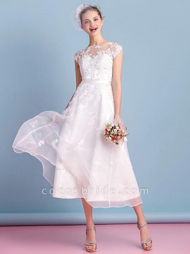 A-Line Wedding Dresses Bateau Neck Tea Length Organza Cap Sleeve Simple Casual Illusion Detail