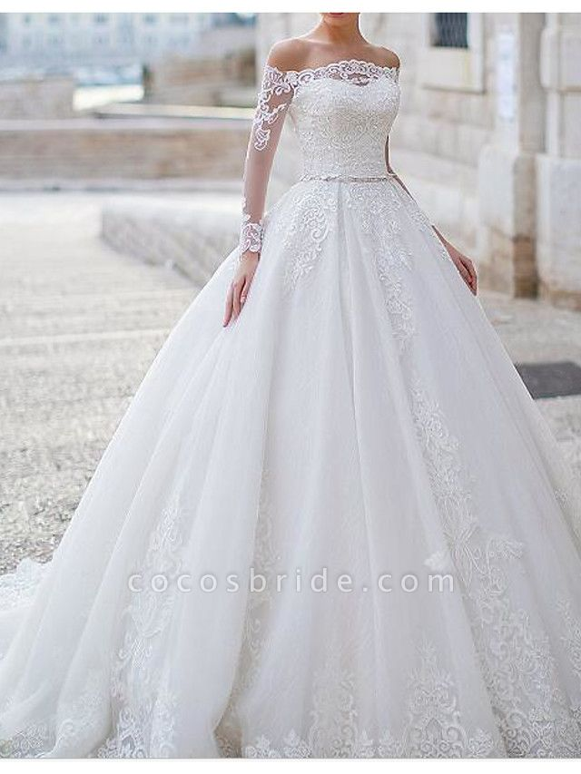 Ball Gown Off Shoulder Sweep \ Brush Train Tulle Polyester Long Sleeve Country Plus Size Wedding Dresses