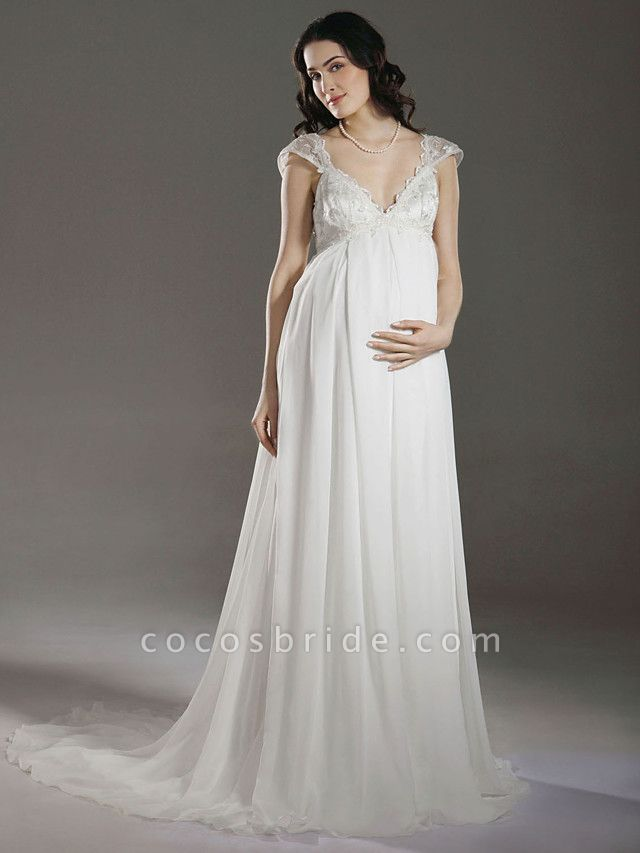 Sheath \ Column Wedding Dresses V Neck Court Train Chiffon Short Sleeve