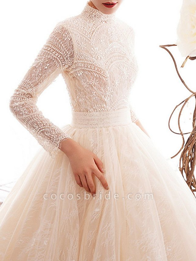 A-Line Wedding Dresses High Neck Court Train Lace Long Sleeve Country Illusion Sleeve