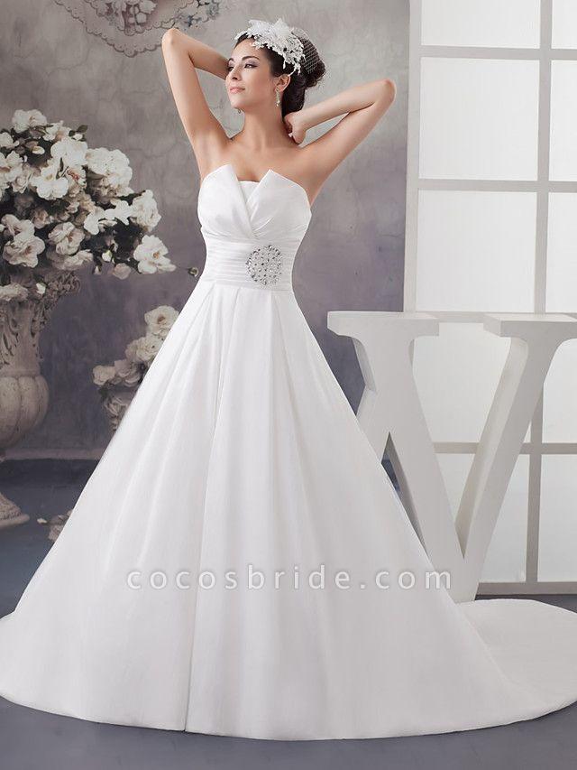 A-Line Wedding Dresses Strapless Chapel Train Satin Strapless