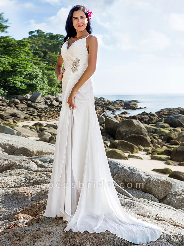 Sheath \ Column Wedding Dresses V Neck Sweep \ Brush Train Chiffon Spaghetti Strap Beach Sparkle & Shine Backless
