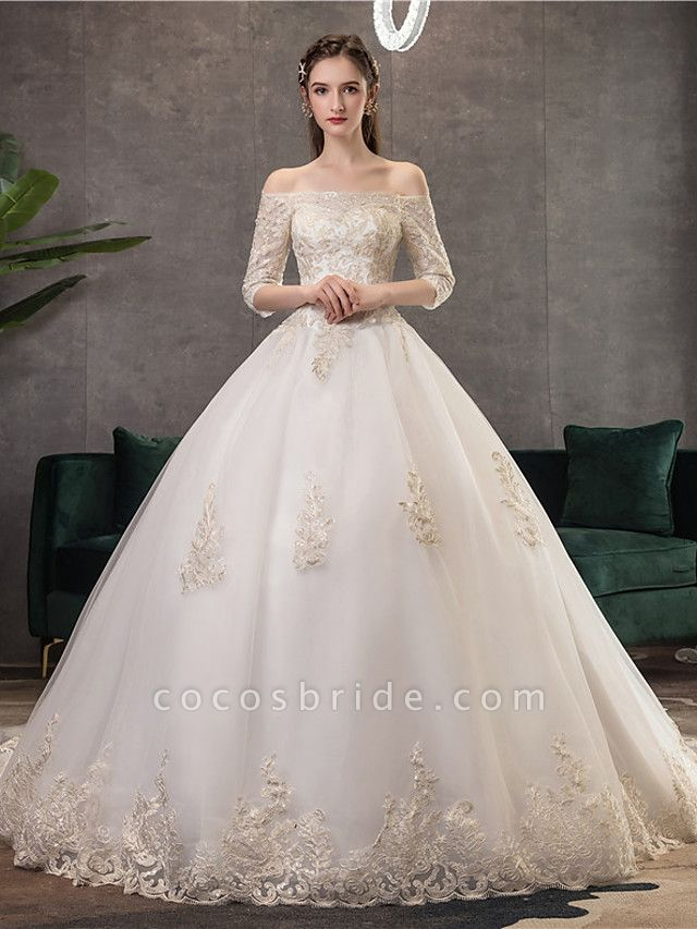 Ball Gown Wedding Dresses Off Shoulder Watteau Train Lace Tulle Polyester 3\4 Length Sleeve Romantic Illusion Sleeve