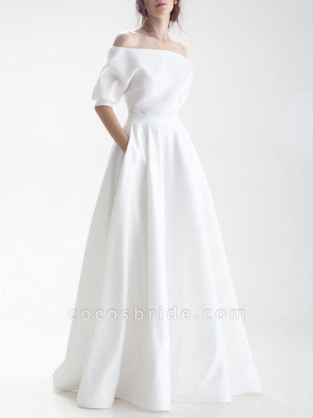 A-Line Wedding Dresses Off Shoulder Sweep \ Brush Train Chiffon Over Satin Half Sleeve Simple