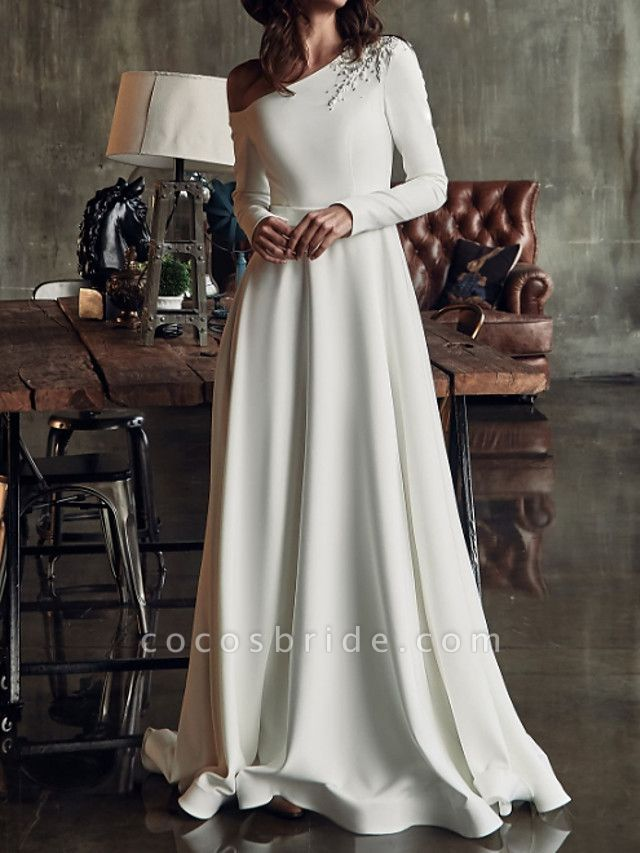A-Line Wedding Dresses One Shoulder Sweep \ Brush Train Stretch Satin Long Sleeve Country Plus Size