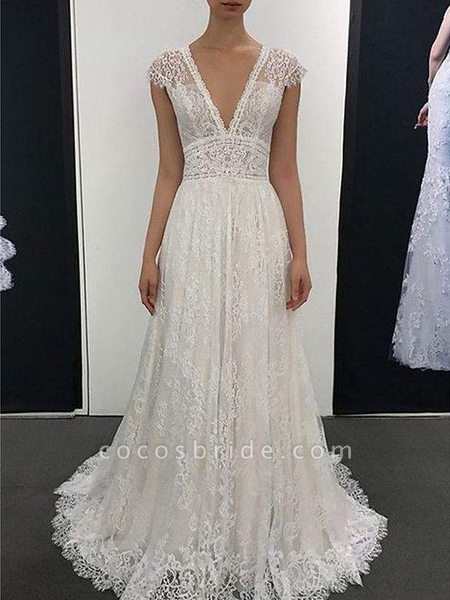A-Line V Neck Court Train Sweep \ Brush Train Lace Cap Sleeve Romantic Wedding Dresses