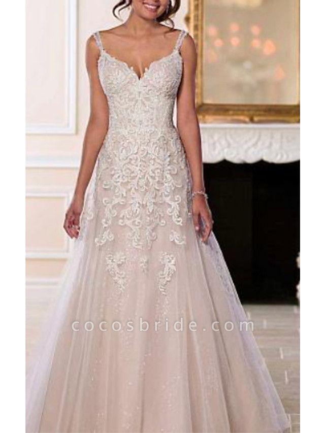 A-Line Wedding Dresses V Neck Sweep \ Brush Train Chiffon Tulle Spaghetti Strap Romantic Illusion Detail Backless